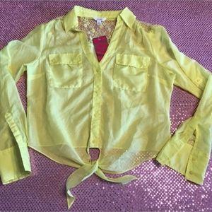Candies  Lace Tie Button Blouse Shirt NWT